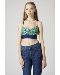 TOPSHOP Green Mirrored Strappy Bralet