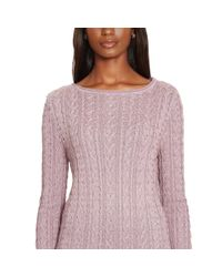 Ralph Lauren | Purple Cable-knit Cotton Sweater | Lyst