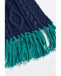 Urban Outfitters - Blue Colorblock Cable Knit Scarf for Men - Lyst