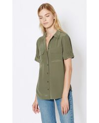 Equipment - Green Short Sleeve Slim Signature Silk Shirt - Lyst
