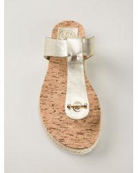 Tory Burch - Metallic T-Bar Sandals - Lyst