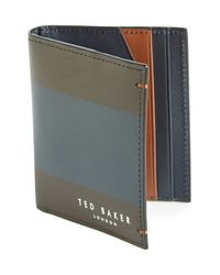 Ted Baker Brown 'lionns' Stripe Small Bifold Wallet for men