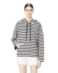 Alexander Wang - White Striped French Terry Hooded Sweatshirt - Lyst