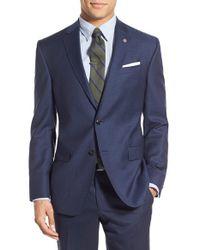 Ted Baker - Blue Trim Fit Check Wool Sport Coat for Men - Lyst