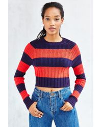 BDG - Red Casey Ribbed Knit Cropped Sweater - Lyst