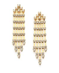 DANNIJO | Metallic Riles Crystal & Faux Pearl Fringe Earrings | Lyst