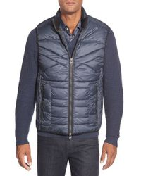 Bugatchi | Blue Three Quarter Length Quilted Jacket for Men | Lyst