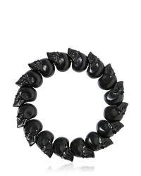 Alexander McQueen - Black Matte Skulls Bracelet for Men - Lyst