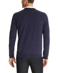 HUGO | Blue 'sotto' | Virgin Wool Piped Sweater for Men | Lyst