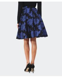 Alice + Olivia - Black 'earla' Floral Metallic Brocade Flare Skirt - Lyst