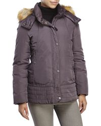 Marc New York | Purple Parker Faux Fur Trim Hooded Down Jacket | Lyst
