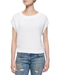 Rag & Bone - White The Addie Ribbed-Trim Sweater - Lyst