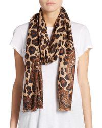 Saks Fifth Avenue | Multicolor Leopard Print & Paisley Merino Wool Scarf | Lyst