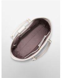 Calvin Klein Natural White Label Scarlett Saffiano Leather Studded Shopper Tote