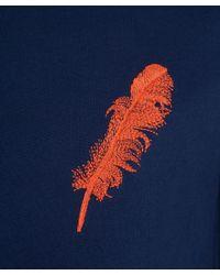 Alexander McQueen Blue Navy Feather Embroidery Cotton Sweatshirt for men