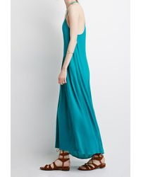 Forever 21 - Blue Embroidered Maxi Dress - Lyst