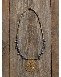 Free People | Blue Vintage Stamped Pendant Necklace | Lyst