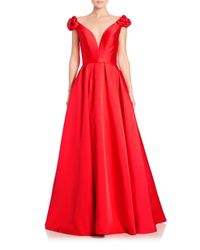 Jovani - Red Taffeta Floral-applique Ball Gown - Lyst