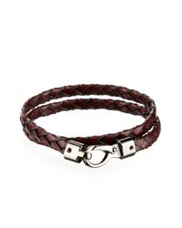 Tod's Purple Woven Leather Bracelet for men