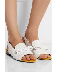 Carven White Croc-Effect Leather Sandals
