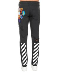 Off-White c/o Virgil Abloh Black Embroidered Patch And Printed Jeans for men