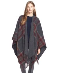 Theory | Gray 'saiome' Plaid Wool Blend Poncho | Lyst