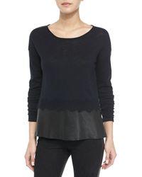 Andrew Marc - Black Slubby Cotton Leather-trim Sweater - Lyst