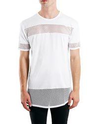 TOPMAN White Mesh Panel Longline T-shirt for men