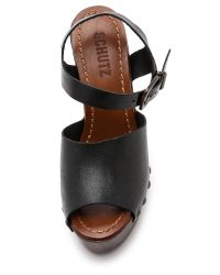Schutz - Emiliah Wedge Sandals - Black - Lyst