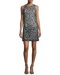 Alice + Olivia Black Remi Laser-Cut Stretch-Crepe Dress