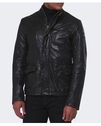 BOSS Orange - Black Jerian Leather Jacket for Men - Lyst