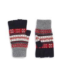 Barbour Blue Fair Isle Fingerless Wool Gloves