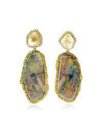 Kimberly Mcdonald | Metallic 18K Gold, Opal, Diamond Slice And White Diamond Drop Earrings | Lyst