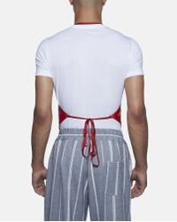 Xander Zhou Red Chinese Pattern Silk Apron Vest for men