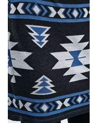 BDG Geometric Intarsia Skirt In Black And Blue