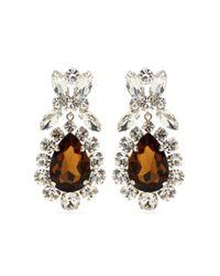 Miu Miu Brown Crystal Clip-on Earrings