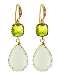 Indulgems | Metallic Crystal & Chalcedony Drop Earrings | Lyst