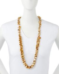 R.j. Graziano | Metallic Golden Leaf Drop Necklace | Lyst