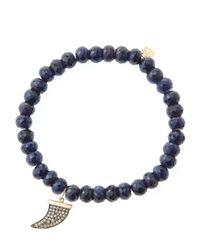 Sydney Evan | Blue 6Mm Faceted Sapphire Beaded Bracelet With 14K Gold/Diamond Medium Horn Charm (Made To Order) | Lyst