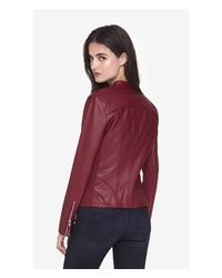 Express - Red Seamed Moto (minus The) Leather Jacket - Lyst
