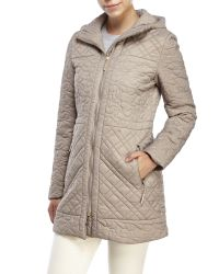 T Tahari | Natural Hooded Puffer Coat | Lyst