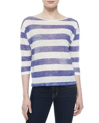 Neiman Marcus | Purple 3/4-sleeve Striped Linen Top | Lyst