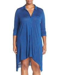 DKNY | Blue 'touch' Button Front Sleepshirt | Lyst