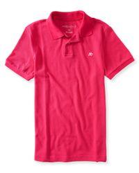 Aéropostale | Pink A87 Solid Logo Piqué Polo for Men | Lyst