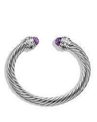 David Yurman Metallic Cable Classics Bracelet With Amethyst & Diamonds