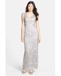 Sue Wong | Gray Embellished Illusion Back Gown | Lyst
