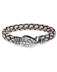Platadepalo | Metallic Snake Head Leather Bracelet for Men | Lyst
