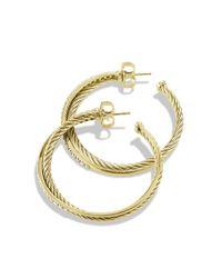 David Yurman - Metallic Crossover Extra-large Hoop Earrings With Diamonds In 18k Gold - Lyst