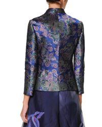 Giorgio Armani - Purple Collarless Floral Jacquard Jacket - Lyst