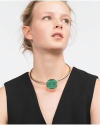 Zara | Metallic Adjustable Choker With Round Stone | Lyst